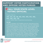 Action 12 (part A): Support voter participation and oppose voter purges.