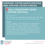 Action 12 (Part B): Support voter participation and oppose voter purges.