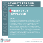 Action 14: Advocate for paid time off for voting.