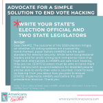 Action 4: Advocate for a simple, crucial solution to end vote hacking.