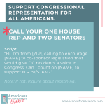 Action 5: Support congressional representation for all Americans.